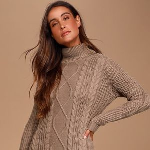 Market & Spruce Taupe Turtleneck Sweater